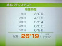 Wii Fit Plus 8月6日のバランス年齢 24歳 基本バランステスト結果