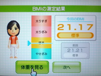 Wii Fit Plus 8月11日のBMI 21.17