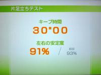 Wii Fit Plus 8月11日のバランス年齢 25歳 片足バランステスト結果