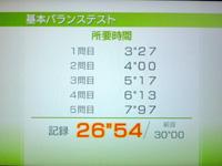 Wii Fit Plus 8月16日のバランス年齢 26歳 基本バランステスト結果