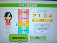Wii Fit Plus 8月17日のBMI 21.04