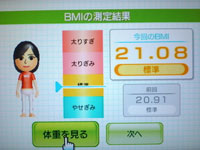 Wii Fit Plus 8月19日のBMI 21.08