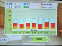 Wii Fit Plus 8月19日のトレーニングの種類と運動時間