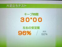 Wii Fit Plus 8月20日のバランス年齢 20歳片足立ちテスト結果