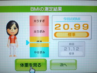 Wii Fit Plus 8月21日のBMI 20.99