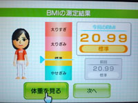 Wii Fit Plus 8月22日のBMI 20.99