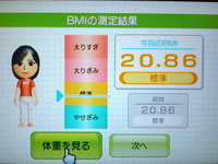 Wii Fit Plus 8月27日のBMI 20.86