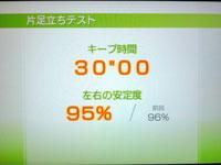 Wii Fit Plus 8月27日のバランス年齢 30歳 片足立ちテスト結果
