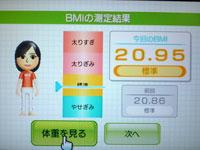 Wii Fit Plus 8月28日のBMI 20.95
