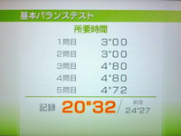 Wii Fit Plus 8月31日のバランス年齢 20歳 基本バランステスト結果 20