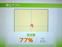 Wii Fit Plus 9月8日のバランス年齢 22歳 静止テスト結果 77%