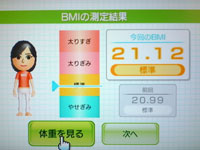 Wii Fit Plus 9月11日のBMI 21.12