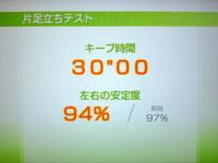 Wii Fit Plus 9月13日のバランス年齢 20歳 片足立ちテスト結果 30
