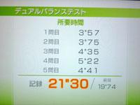 Wii Fit Plus 9月14日のバランス年齢 26歳 デュアルバランステスト結果 21