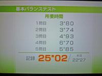 Wii Fit Plus 9月16日のバランス年齢 29歳 基本バランステスト結果 25