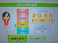 Wii Fit Plus 9月27日のBMI 20.56