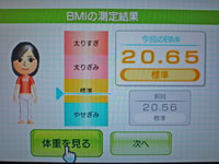 Wii Fit Plus 9月28日のBMI 20.65