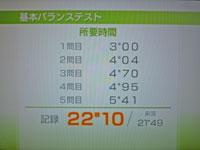 Wii Fit Plus 9月28日のバランス年齢 21歳 基本バランステスト結果 22