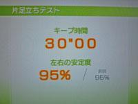 Wii Fit Plus 9月29日のバランス年齢 24歳 片足立ちテスト結果 キープ時間 30