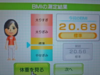 Wii Fit Plus 9月30日のBMI 20.69