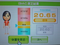 Wii Fit Plus 10月4日のBMI 20.65