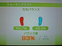 Wii Fit Plus 10月4日のバランス年齢 20歳 ウォーキングテスト結果 バランス度 93%