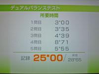 Wii Fit Plus 10月7日のバランス年齢 27歳 デュアルバランステスト結果 所要時間 25