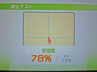 Wii Fit Plus 10月8日のバランス年齢 24歳 静止テスト結果 安定度78%