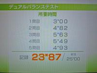 Wii Fit Plus 10月10日のバランス年齢 29歳 デュアルバランステスト結果 所要時間 23