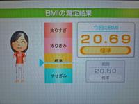 Wii Fit Plus 10月11日のBMI 20.69