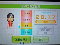 Wii Fit Plus 12月9日のBMI 20.17