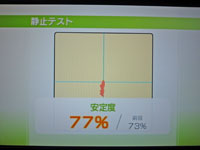 Wii Fit Plus 12月9日のバランス年齢 22歳 静止テスト結果 安定度77%