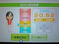 Wii Fit Plus 10月14日のBMI 20.52