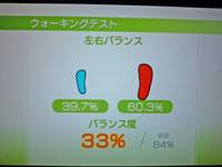 Wii Fit Plus 10月30日のバランス年齢 34歳 ウォーキングテスト結果 バランス度33%