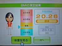 Wii Fit Plus 11月2日のBMI 20.26