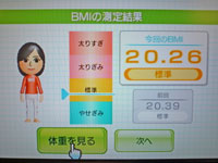 Wii Fit Plus 11月6日のBMI 20.26