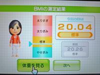 Wii Fit Plus 11月7日のBMI 20.04