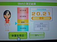 Wii Fit Plus 11月9日のBMI 20.21