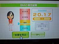 Wii Fit Plus 11月11日のBMI 20.17
