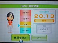 Wii Fit Plus 11月14日のBMI 20.13