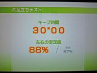 Wii Fit Plus 11月15日のバランス年齢 21歳 片足立ちテスト結果 キープ時間30