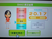 Wii Fit Plus 11月16日のBMI 20.17