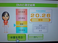 Wii Fit Plus 11月20日のBMI 20.26