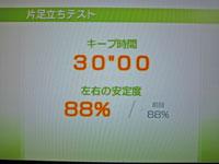 Wii Fit Plus 11月21日のバランス年齢 21歳 片足立ちテスト結果 キープ時間30