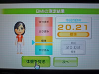 Wii Fit Plus 11月22日のBMI 20.21