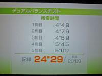 Wii Fit Plus 11月22日のバランス年齢 27歳 デュアルバランステスト結果 所要時間24
