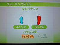 Wii Fit Plus 11月26日のバランス年齢 29歳 ウォーキングバランステスト結果 バランス度58%