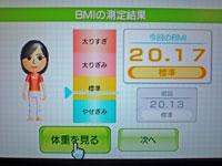 Wii Fit Plus 11月27日のBMI 20.17