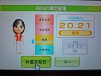 Wii Fit Plus 11月28日のBMI 20.21