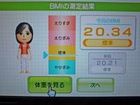 Wii Fit Plus 11月29日のBMI 20.34